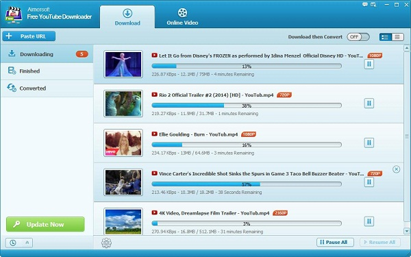 Aimersoft Free YouTube Downloader Batch Download