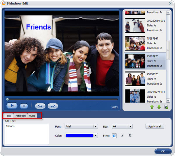aimersoft dvd creator slideshow